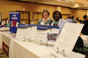Tennessee Vision 2020 Delegates Patricia Pierce and Phyllis Qualls-Brooks displayed posters highlighting Vision 2020's National Goals and the Declaration for Equality at the East Tennessee Leadership Summit held in Knoxville, TN June 14th.